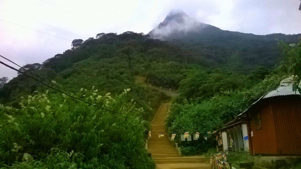 Adams Peak, the mountain with the footprint believed to belong to Lord Buddha and Prophet Adam. It is the second largest mountain in Sri Lanka